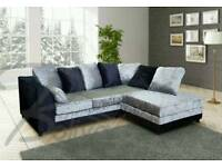 Superb BRAND NEW black and silver crushed velvet corner sofa .any side in stock.can deliver
