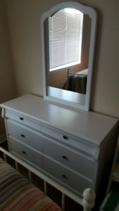White dresser and side table set