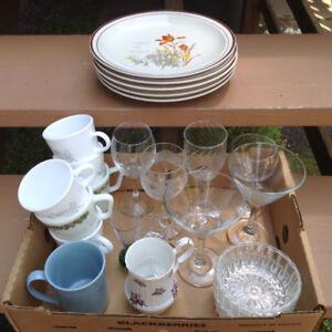 Box of dishes, glasses, etc