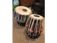 Tabla set with covers, case and rings - used once
