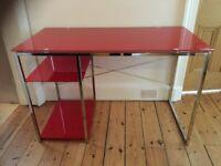 Retro red glass study computer desk