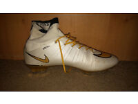 Nike Mercurial Sock Boots White/Gold Edition Size 8
