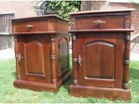 2 antique mahogany bedside cabinets, bedside tables, FREE DELIVERY.