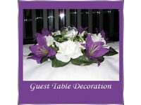 7 Kay Purple & Ivory Lily & Rose Guest Table Decorations *Brand New*