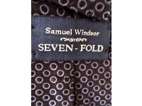 BEAUTIFUL SAMUEL WINDSOR - SEVEN FOLD -HAND MADE - 100% SILK TIE