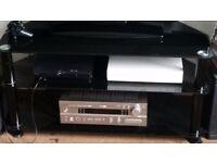 Black glass television unit