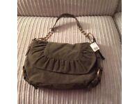 Khaki suede effect handbag