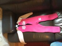 Girls C-Skins Pink Full Length Wetsuit - Size 3 - Good Condition (Age 5/7 approx)