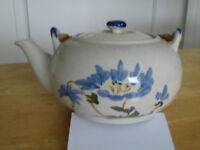 Teapot - small blue/green print, made in China.