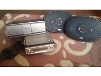 jvc car cd player with 12 disc changer plus cable and x 2 jvc 120 w speakers excellent sound
