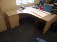 Office desks including filing cabinets
