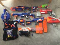12 Nerf gun collection and extra equipment