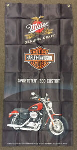 "3 Kinds of Harley Davidson MGD beer ""BANNERS"" & ""FLAGS"""