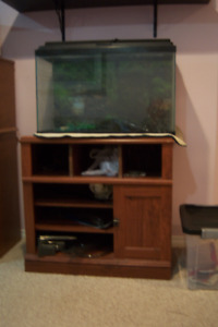 33 Gallon Fish Tank Used  plus Wooden stand , and other acc.