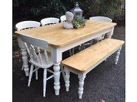 NEW HANDMADE 6FT PINE FARMHOUSE TABLE BENCH AND CHAIRS