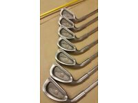 LEFT HANDED GOLF CLUBS, RARE SOUGHT AFTER PING EYE 2 GOLF CLUBS, ORANGE DOT