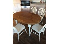 Shabby chic kitchen table & 4wheel back chairs