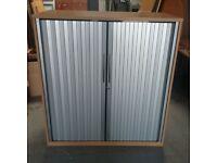 Beech effect tambour with silver shutters shutters