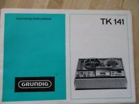 GRUNDIG TK141 TAPE RECORDER WITH OPERATING INSTRUCTIONS BOOKLET