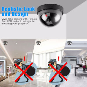Fake Security Camera with LED Indoor Outdoor Warning Sign