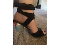 Size 6 - Black sandal high heels with multi-coloured perspex heels