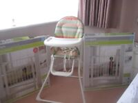 high chair and two stair gates