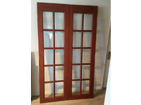 Internal mahogany wooden bi folding doors with glass panels 195x113.5 cm
