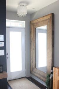 Superbe Miroir de bois style bois de grange  / Wood miror