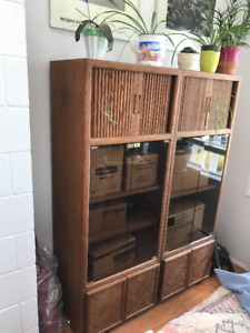 2 Wood and Glass display units - $100 each or $150 for BOTH!