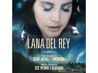 2 - 4 Lana Del Rey Glasgow SSE Hydro paper tickets in Section 228 face value £50 per ticket.