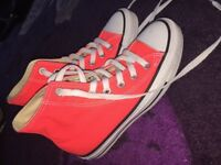 Orange Converse High Tops Size 3.5