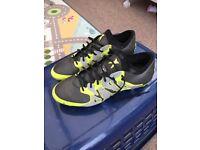 Adidas football boots X 15.1 FG/AG - Core Black / Silver Met / Solar Yellow (Reflective) UK 9