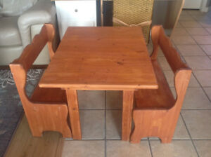 Kids solid wood Quality table and 2 benches
