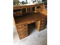 Roller Top Oak Desk