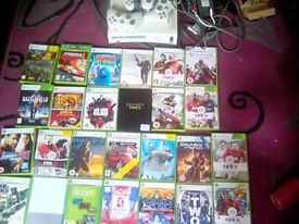 X box 360 with 25/27 games and 3 controllers