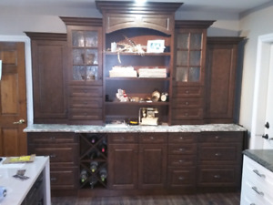 Maple granite Kitchen cabinet display, hutch, wall, unit, bar,