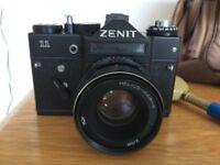 Zenit II 35mm camera, flash & accessories.