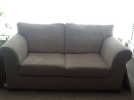 Two seater Next chenille sofa in mink and cream