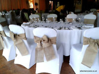 Wedding Chair Covers Sashes Centrepieces Linen etc, plus lots of other decor for hire inc set up