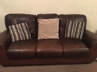2 x 3 Seater chocolate leather settees