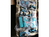 makita 18v 7 pc combo kit +2 batteries 5,0ah+double charger+bag