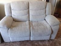 2 seater electric recliner sofa silver grey material vgc 10 months old bargain £100