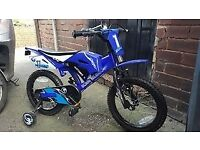 "Moto Bike 16"" Blue With Trainer Wheels"