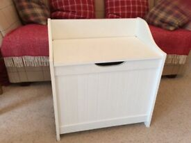 white wood veneered bathroom linen box and seat