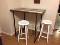 Reclaimed wood high table and ikea stools