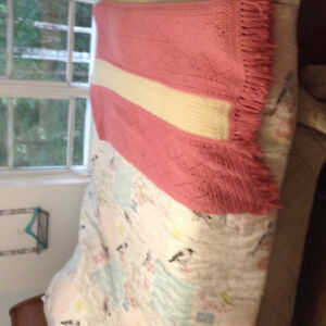 Queen Size Comforter and Afgan...Pretty colours, with birds