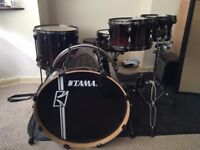 Tama 5 Piece Hyperdrive Dark Mocha Burst Kit (Stands/Iron Cobra Pedals/Throne Included)