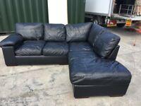 Leather black corner sofa