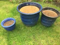 3 ceramic garden pots