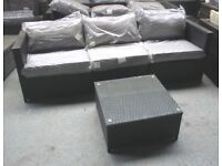 Black Rattan Garden Outdoor 3 Seat Sofa and Table Set